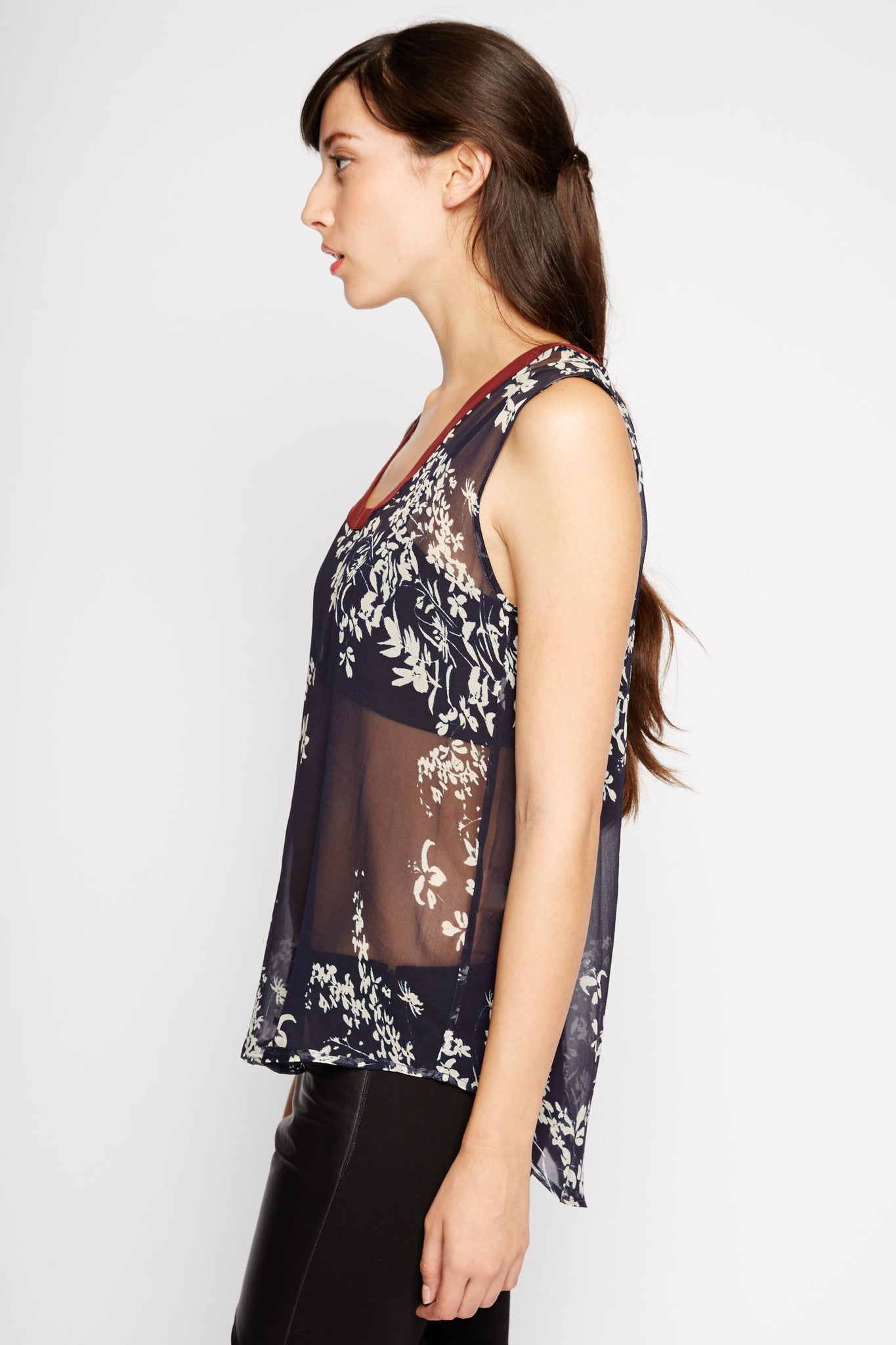 Gemini Sheer Floral Tank Top by Chaser