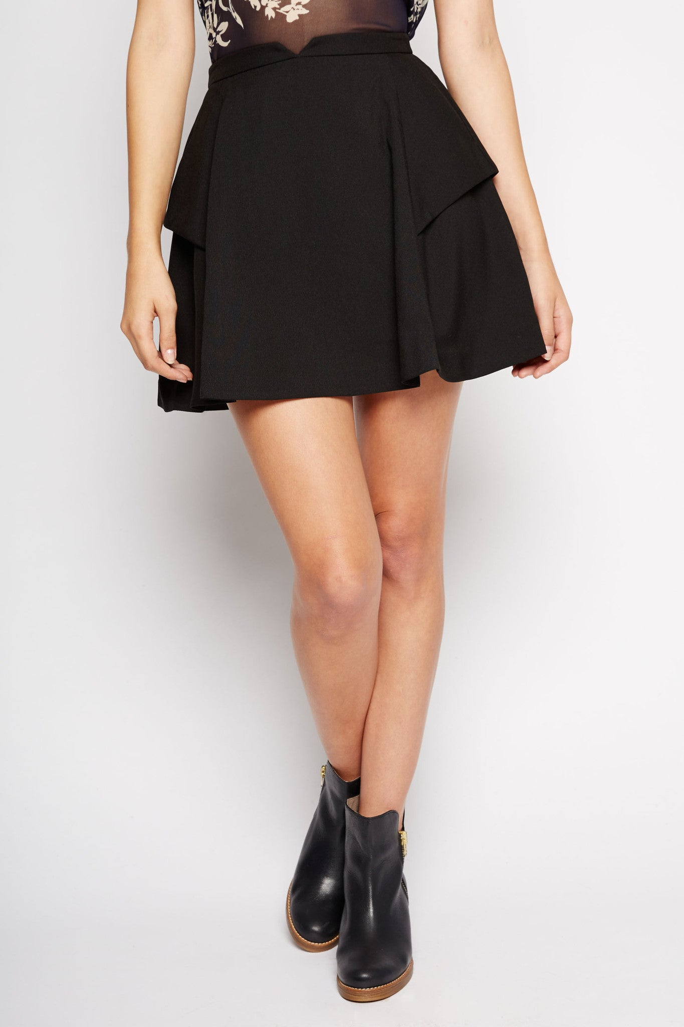 Antilla Pleated A-Line Skirt in Black