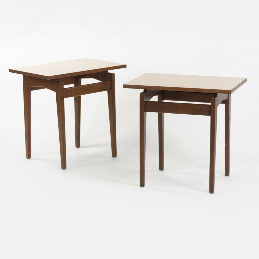 1950s Pair of Jens Risom Designs Inc Walnut & Laminate End Side Table Knoll Eames