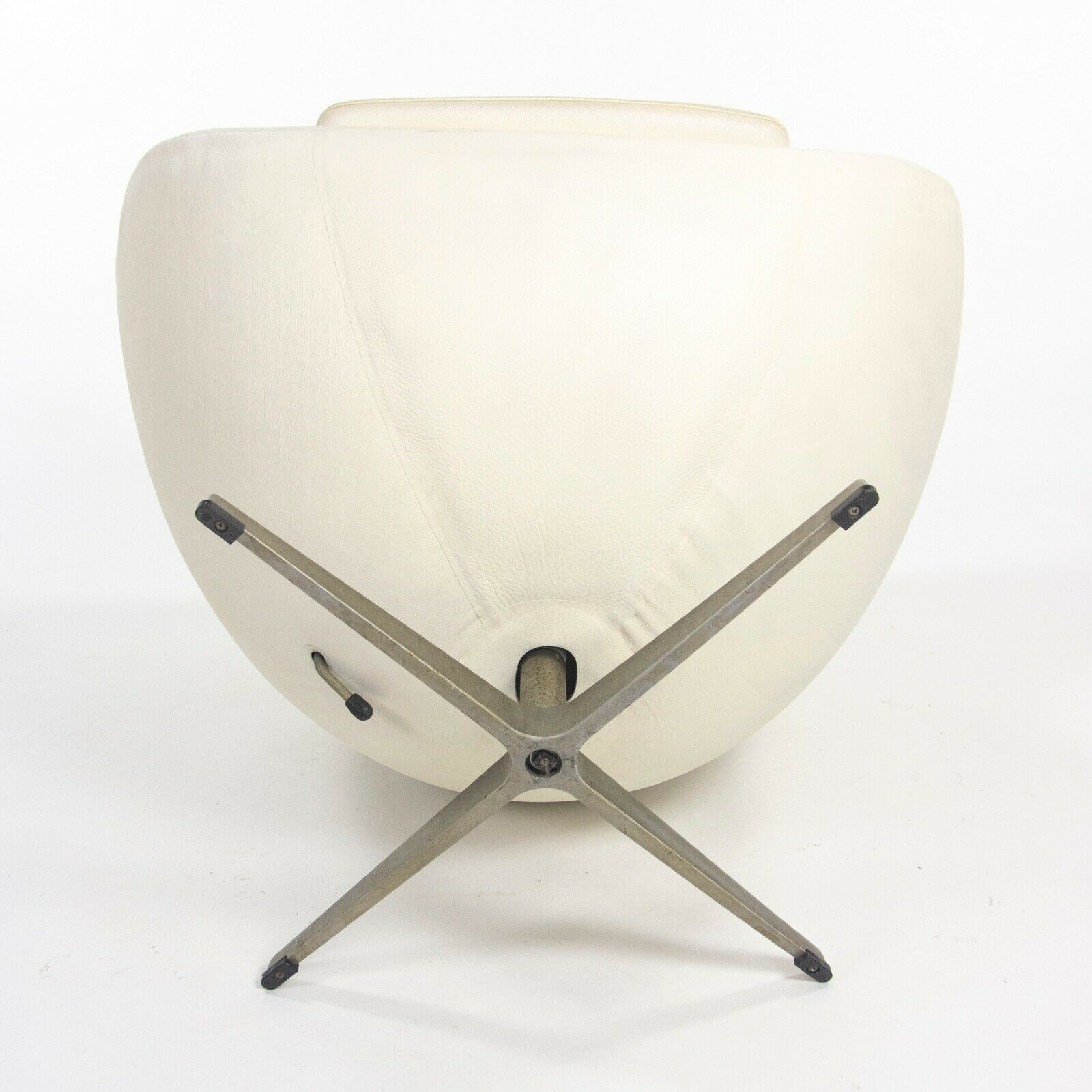 1998 Arne Jacobsen for Fritz Hansen White Leather Egg Chair with Ottoman