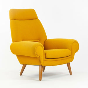 1960s Vintage Kurt Østervig Yellow Upholstered Lounge Chair for Ryesberg Mobler