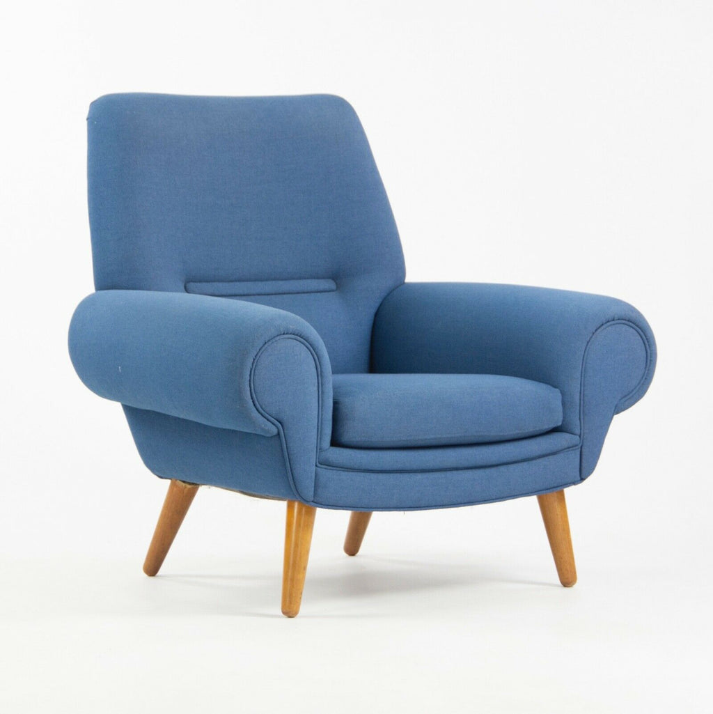 1960s Kurt Østervig Upholstered Blue Lounge Chair for Ryesberg Mobler Armchair