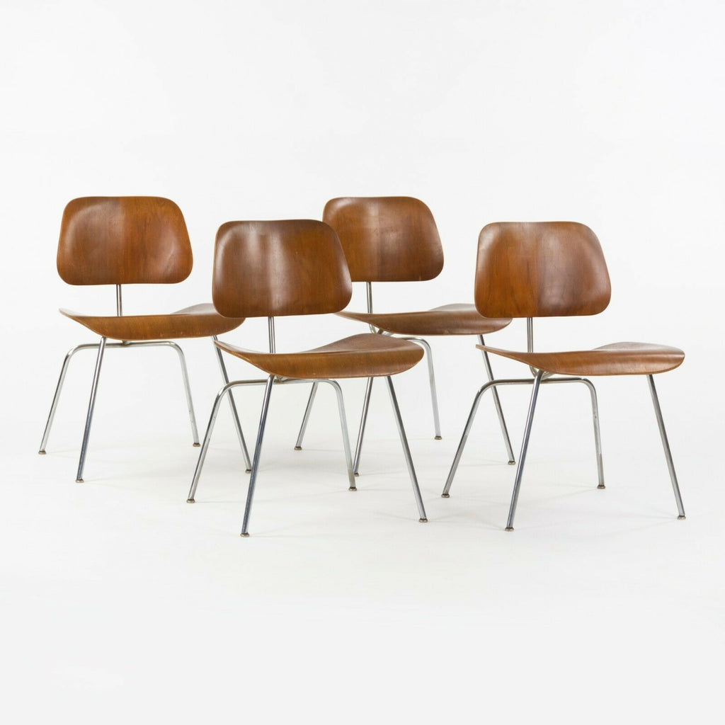 1948 Eames Evans for Herman Miller DCM Dining Chairs Metal in Walnut Set of Four