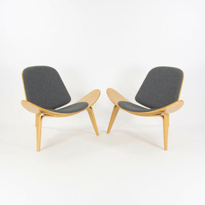 Hans Wegner Carl Hansen Denmark CH07 Shell Lounge Chairs Lacquered Oak 2x Avail