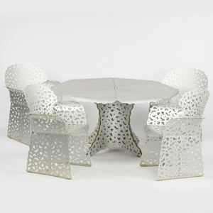 SOLD 1997 Richard Schultz Aluminum Topiary Outdoor Patio / Dining Table with 4 Arm Chairs