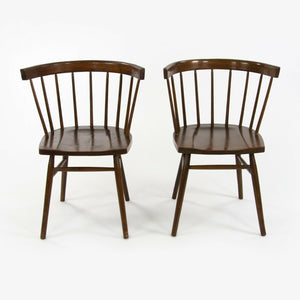 1947 Pair of George Nakashima for Knoll N19 Straight Chairs with Dark Walnut Finish