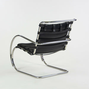 1970s Mies Van Der Rohe Knoll MR Black Leather & Chrome Lounge Chairs with Arms