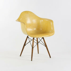 1951 Herman Miller Eames Zenith DAW Lemon Yellow Arm Shell Chair w Dowel & Rope Edge