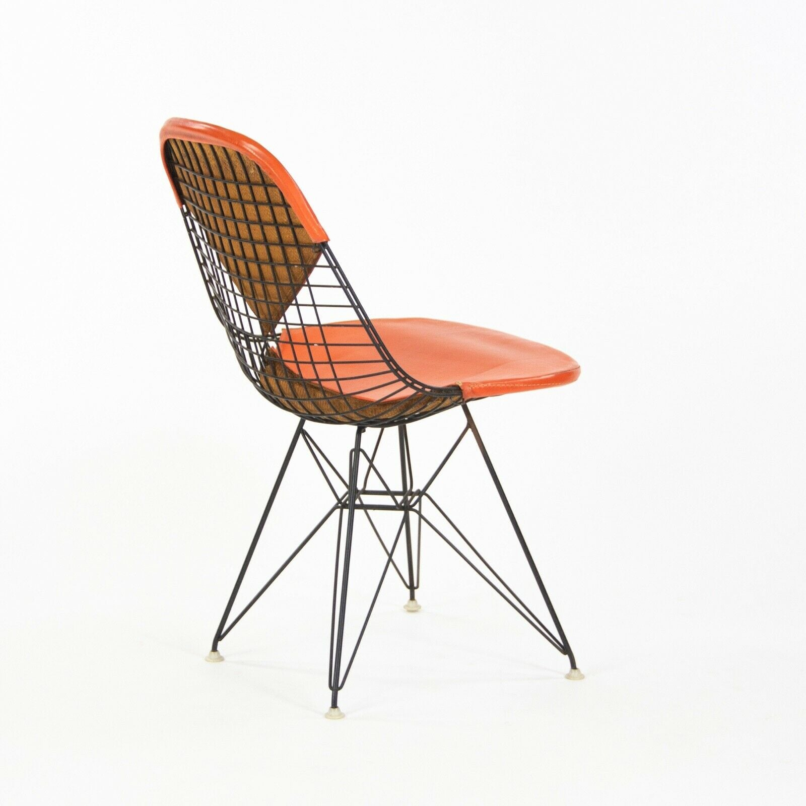 1956 Pair of Herman Miller Eames DKR-1 Wire Dining Chairs w/ Orange Bikini Pads