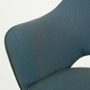 Eero Saarinen for Knoll 2014 Blue Fabric Executive Arm Chair with Chrome Legs