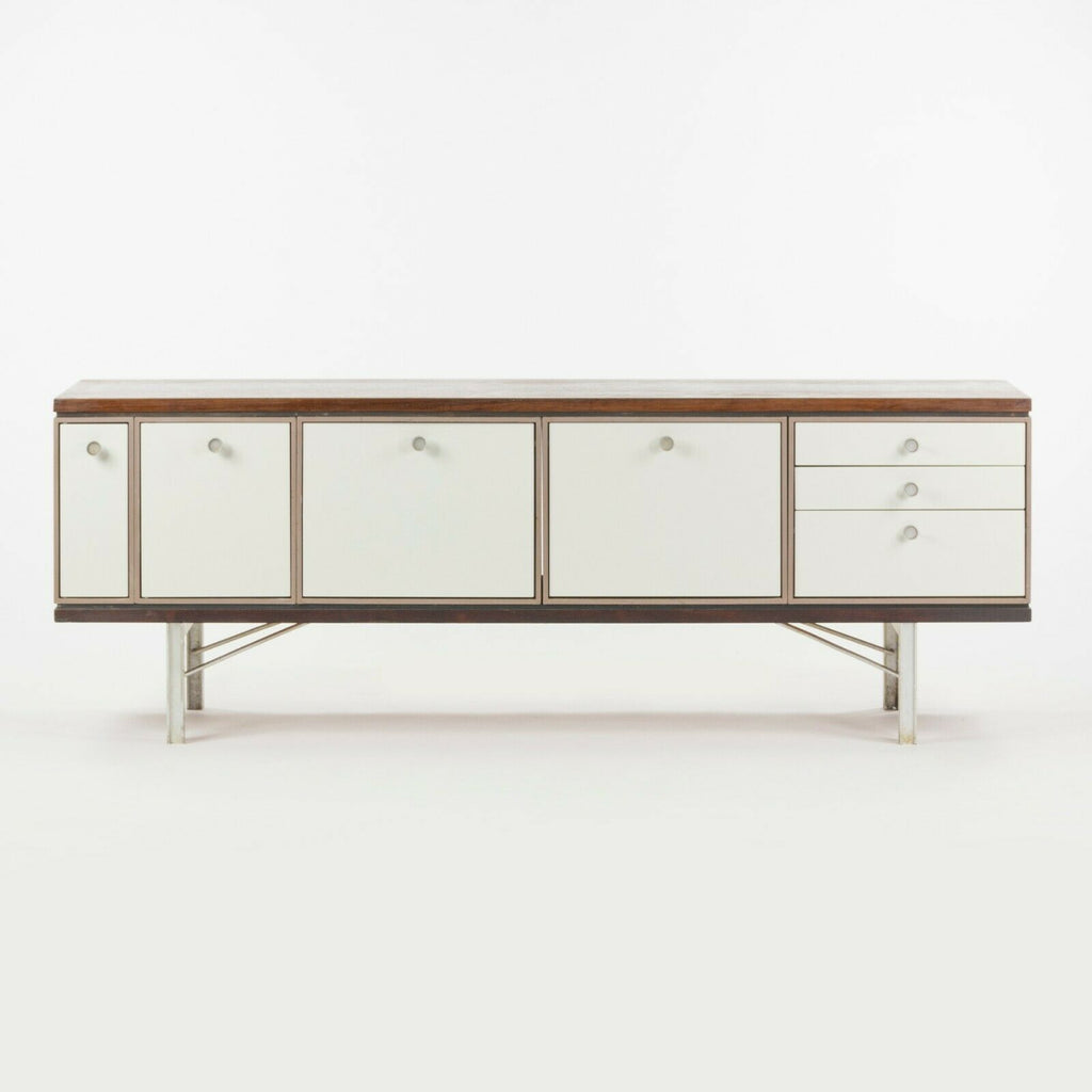 1960 Gerald Luss Rosewood & Metal Credenza Cabinet Once Attributed to Eames & IBM Pavilion
