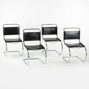 1970s Set of 4 Mies Van Der Rohe MR10 Catilever Dining Side Chairs by Thonet