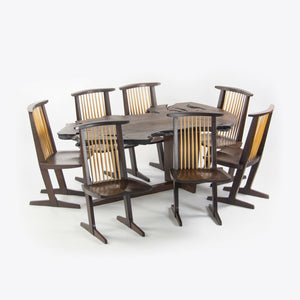 2007 Ru Amagasu Nakashima Set of 7 Conoid Chairs & Holtz Dining Table Wenge & Redwood