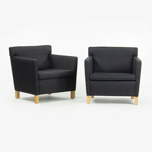 2010s Pair Original Knoll Mies Van Der Rohe Krefeld Lounge Chair Black Fabric