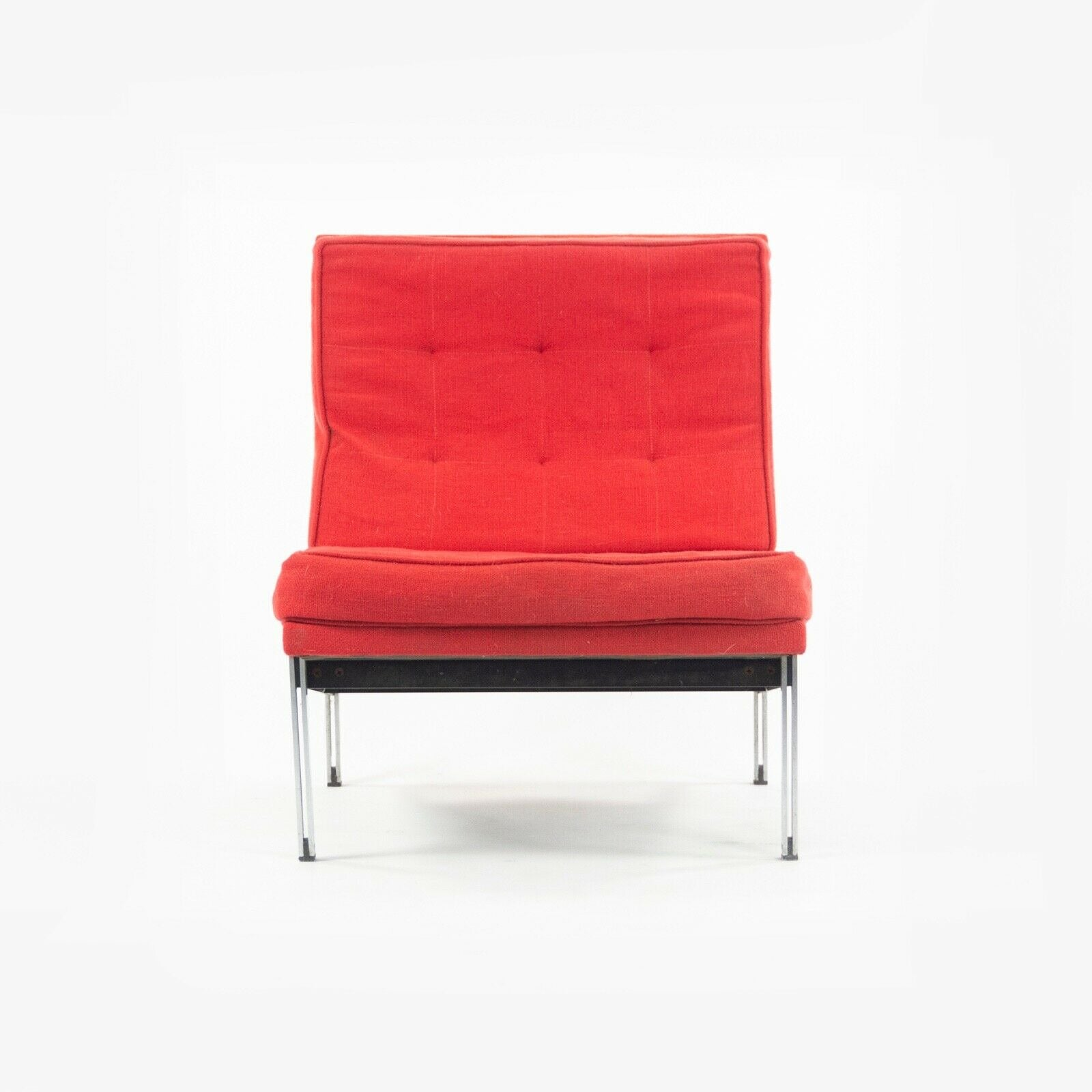 SOLD 1950s Florence Knoll Associates Parallel Bar Lounge Chair Original Red Fabric
