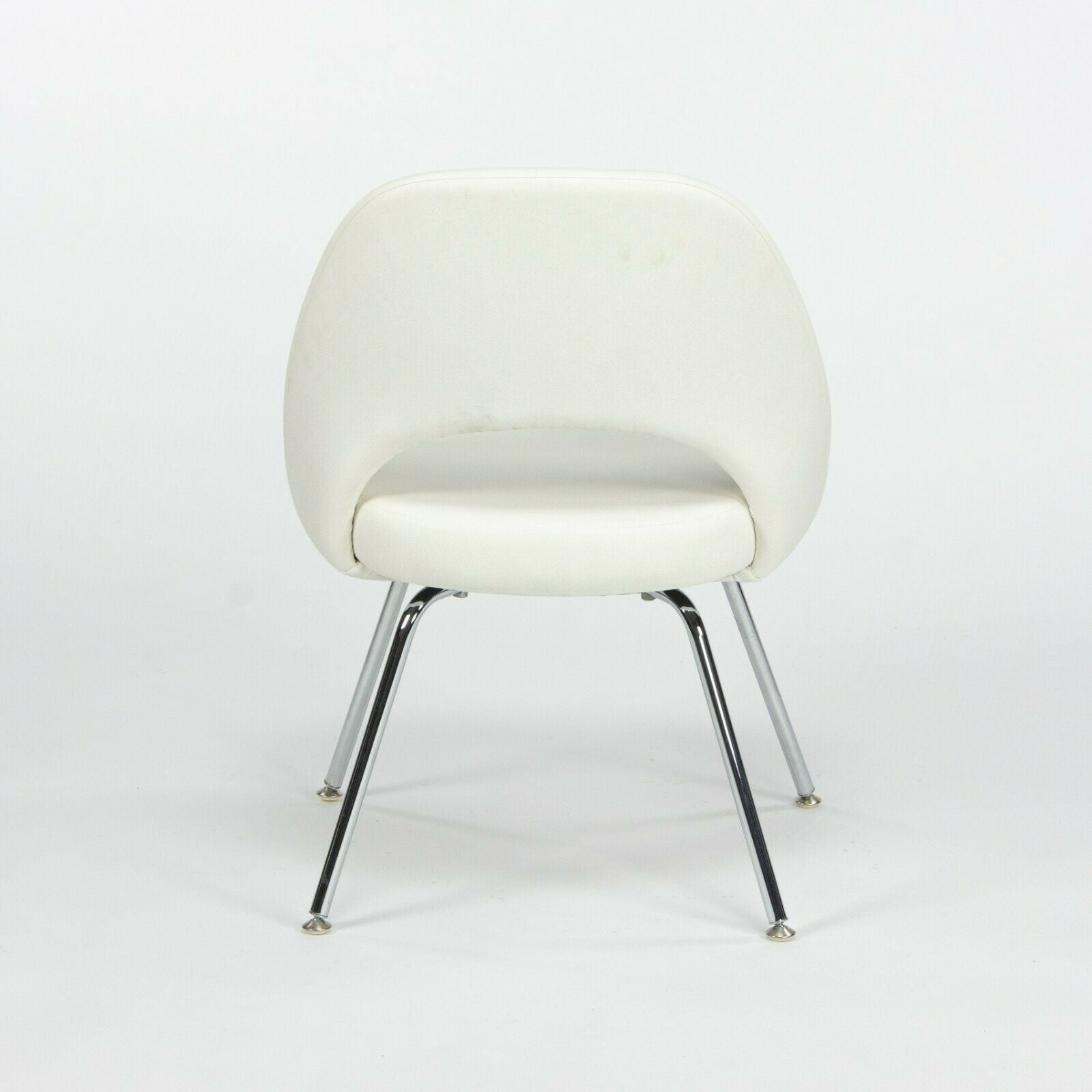 Eero Saarinen Knoll 2020 White Leather Executive Side Chair with Chrome Legs 2x Available