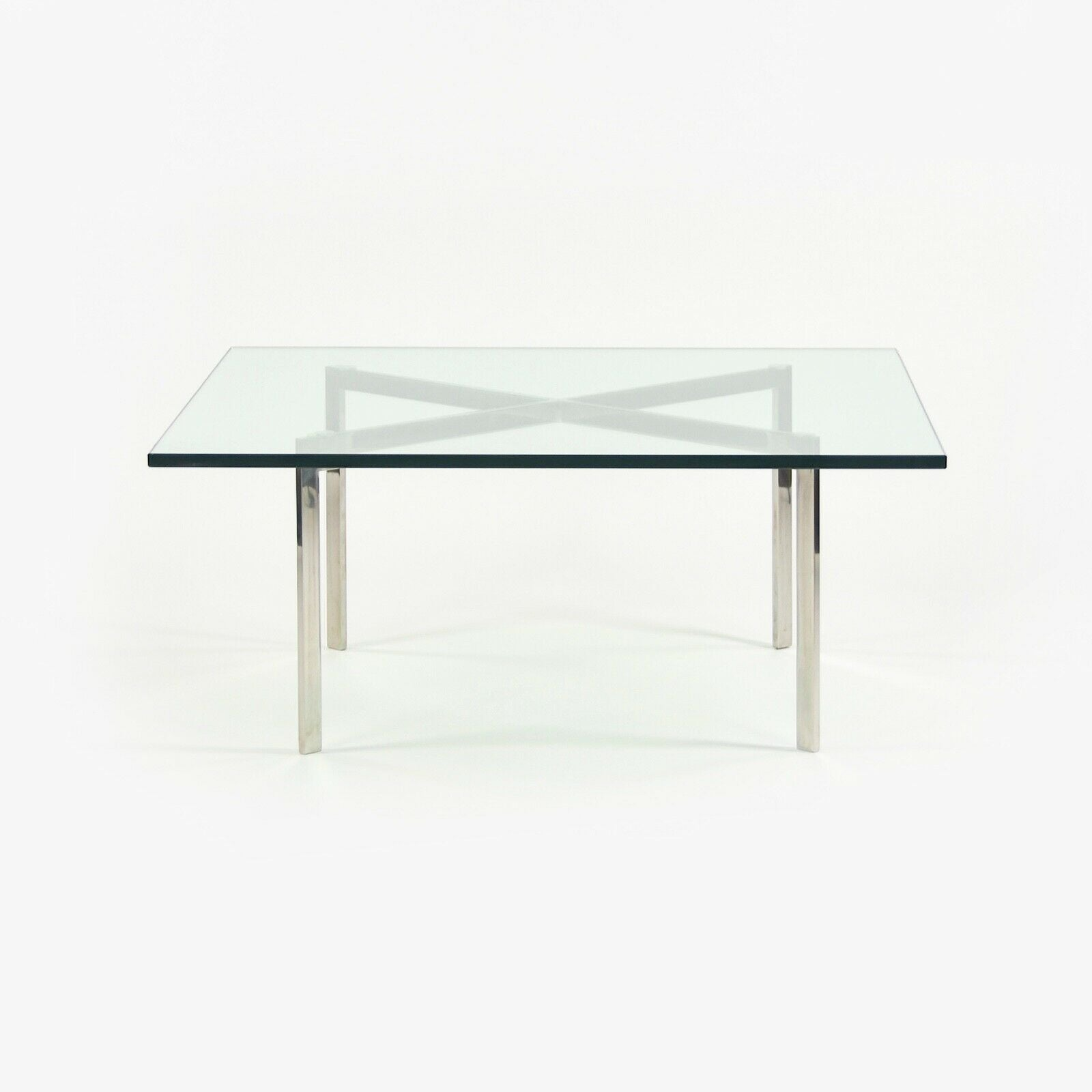 1960s Knoll Mies Van Der Rohe Barcelona Coffee End Table Glass Stainless 40in Marked KP