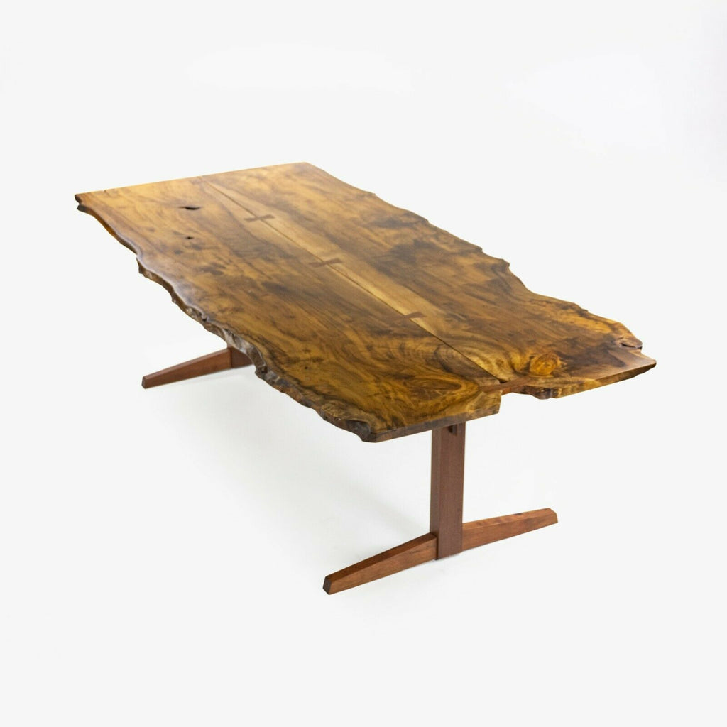 Mira Nakashima 96 x 46 inch Trestle Dining Table in Myrtle Burl