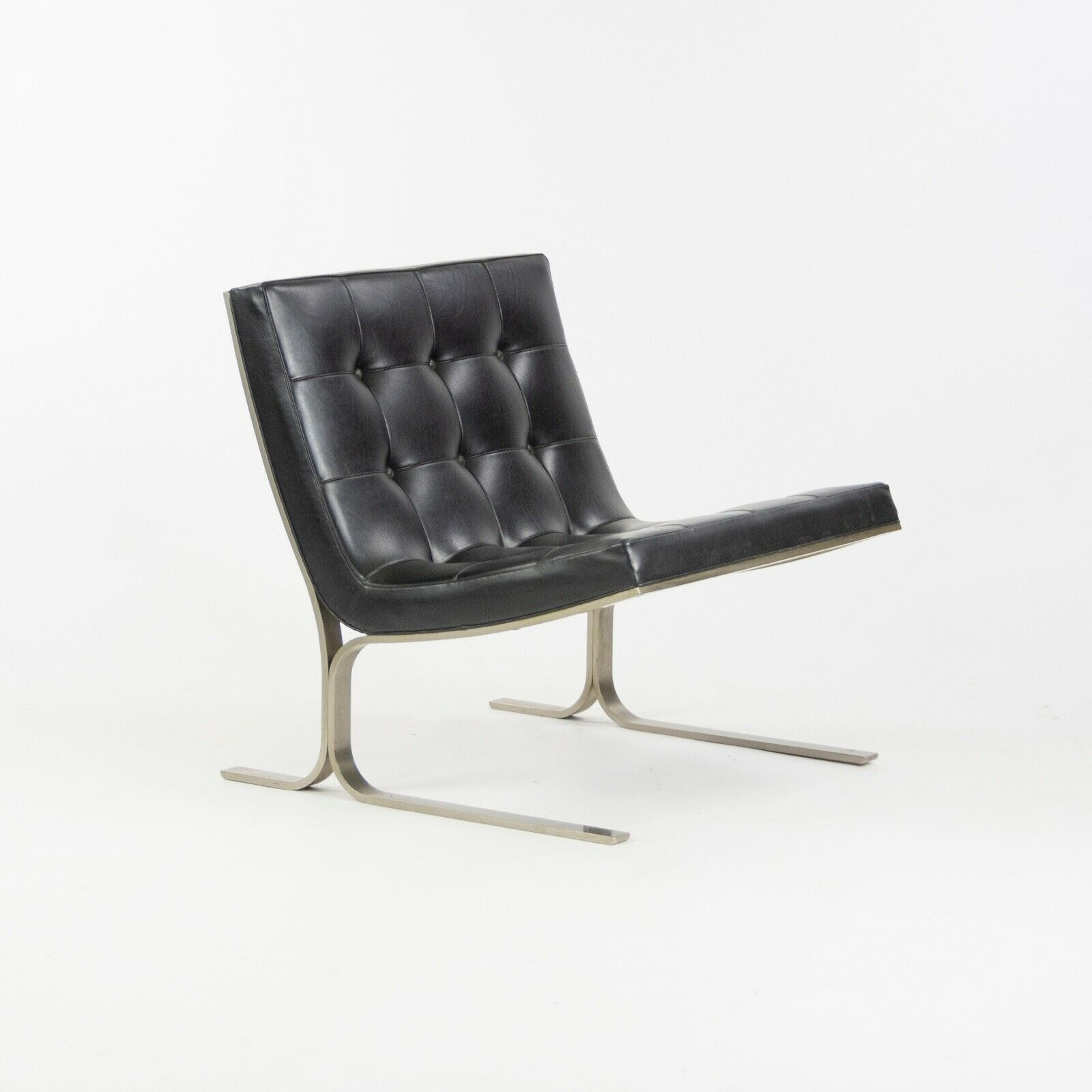 1960s Pair of Nicos Zographos CH28 Ribbon Chairs in Black Leather