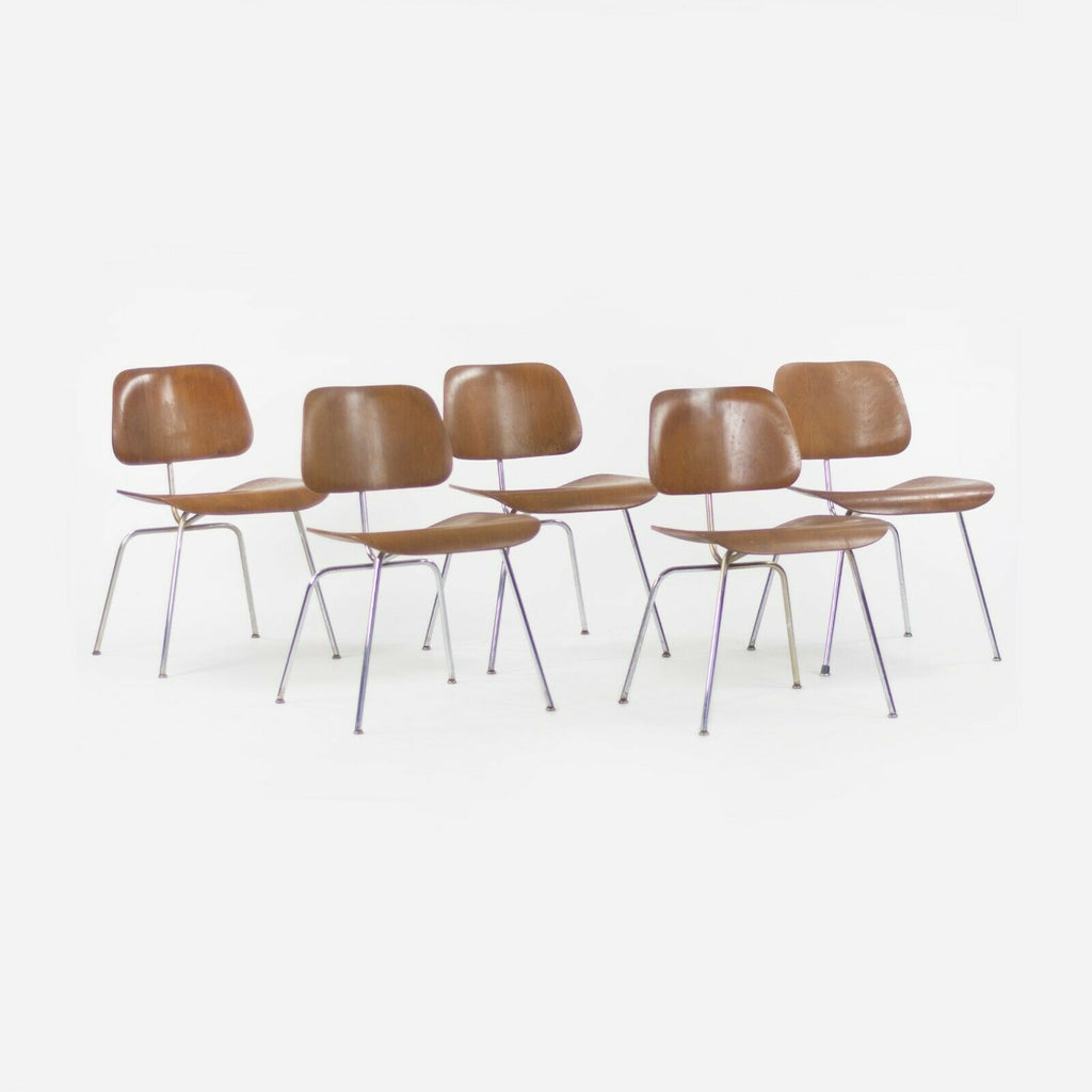 1948 Eames Evans for Herman Miller DCM Dining Chairs Metal and Walnut Set of Five