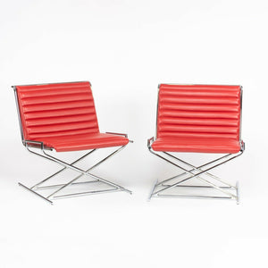 SOLD Pair of Ward Bennett for Geiger / Herman Miller Red Leather Sled Chairs