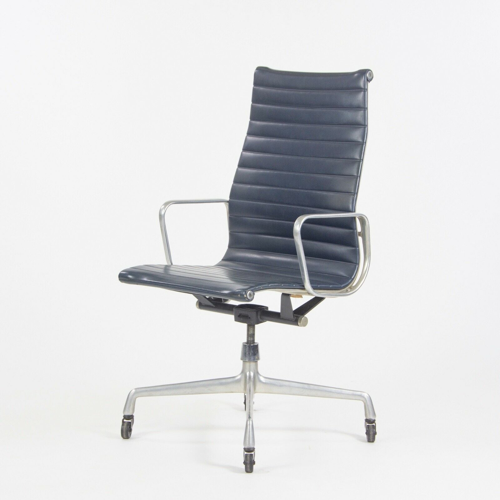 SOLD 1970s Navy Blue Eames Herman Miller Tall Aluminum Group Executive Desk Chair