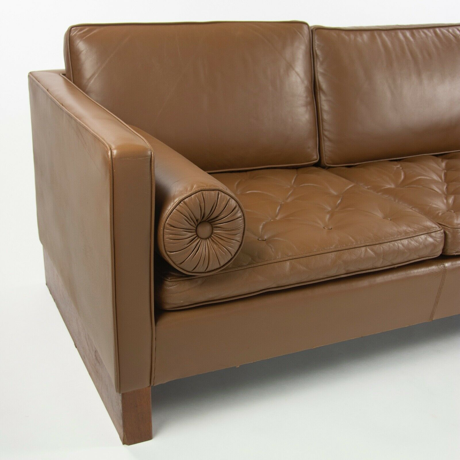 1960s Mies Van Der Rohe for Knoll International Brown Leather Three Seat Sofa