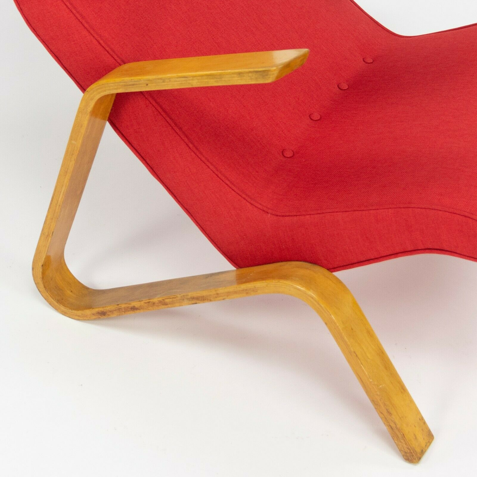 1950s Eero Saarinen Knoll Grasshopper Lounge Chair w/ New Red Knoll Upholstery