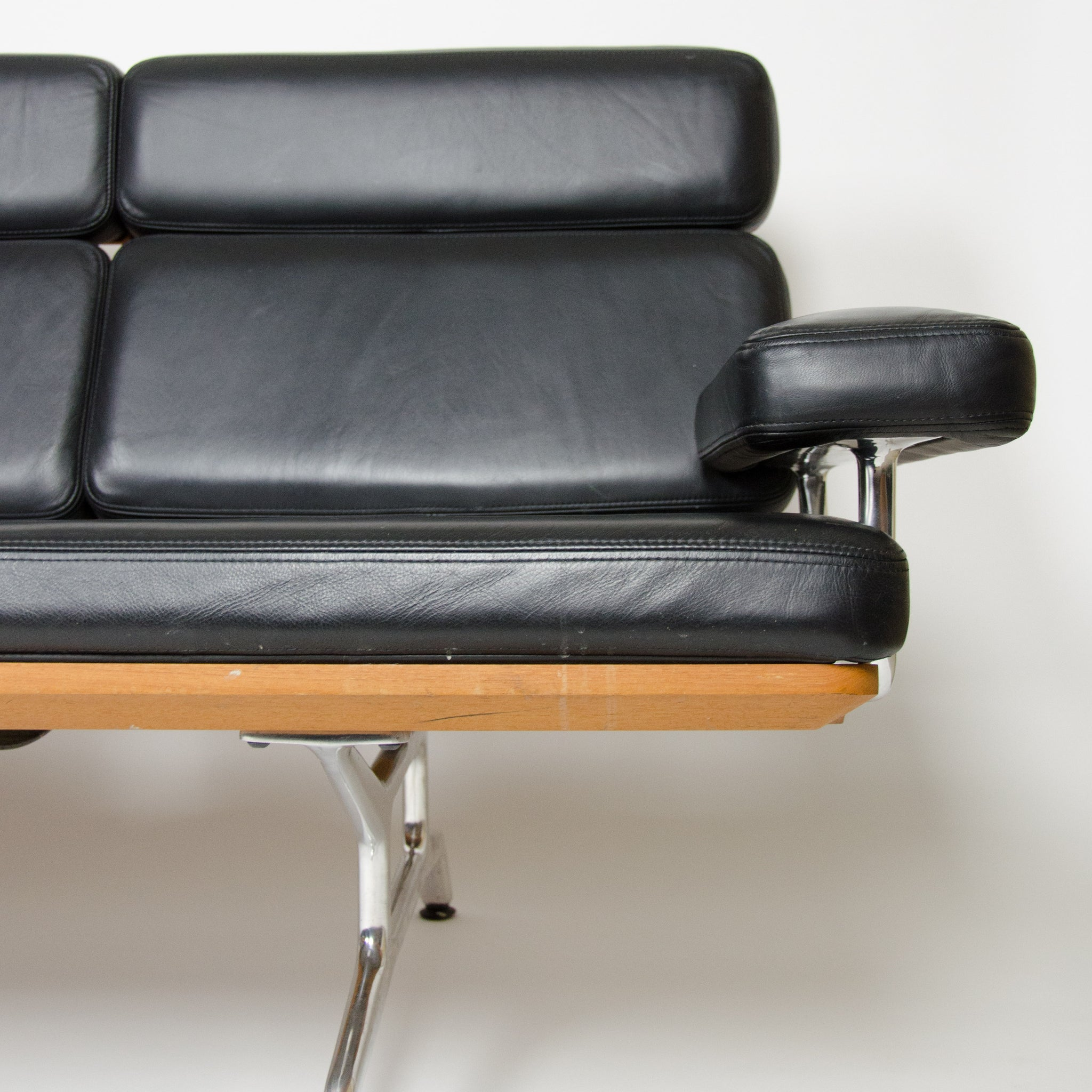 SOLD Eames Herman Miller Three Seater Sofa Teak and Black Leather 2 of 2 MINT!