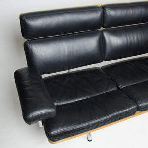 SOLD Eames Herman Miller Three Seater Sofa Teak and Black Leather 1 of 2