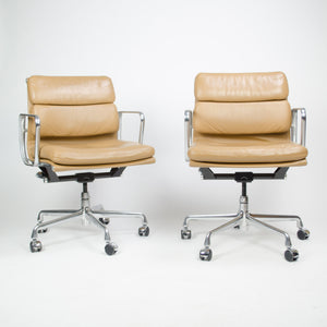 SOLD 2000's Tan Eames Herman Miller Soft Pad Aluminum Group Desk Chairs 8 Available