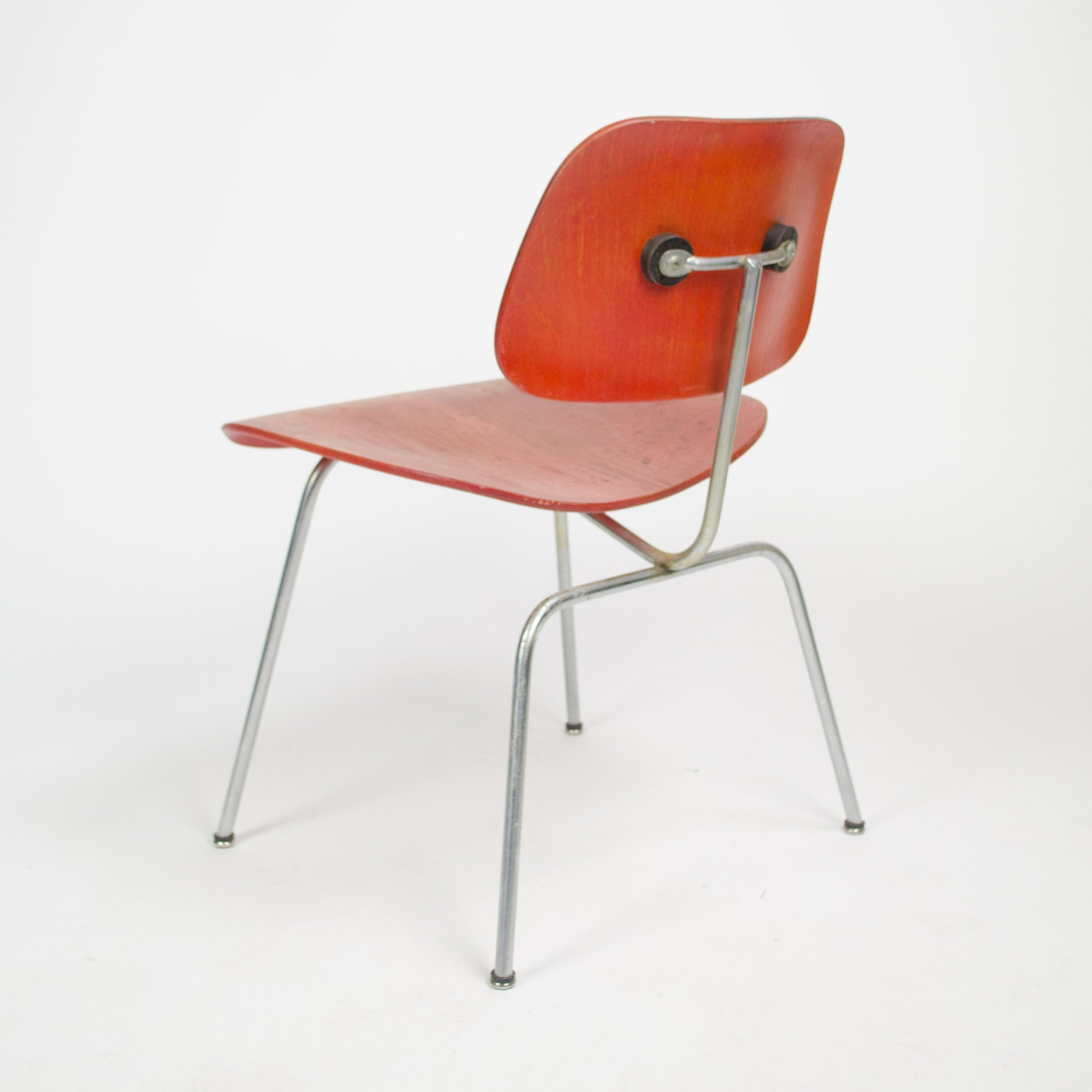 Eames Herman Miller 1951 DCM Dining Chairs Red Aniline Dye 2x Available