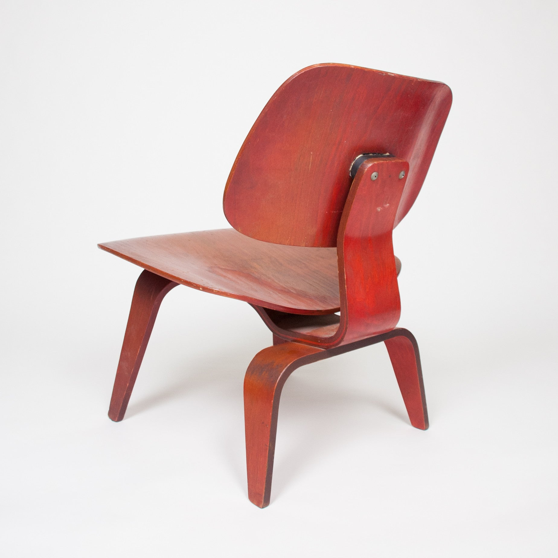 SOLD Eames Herman Miller Early 50's LCW Early Red Aniline, All Original Lounge Chair