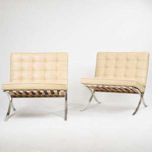 SOLD Knoll Mies Van Der Rohe Barcelona Chairs Tan Leather 2x Avail 2002 MINT
