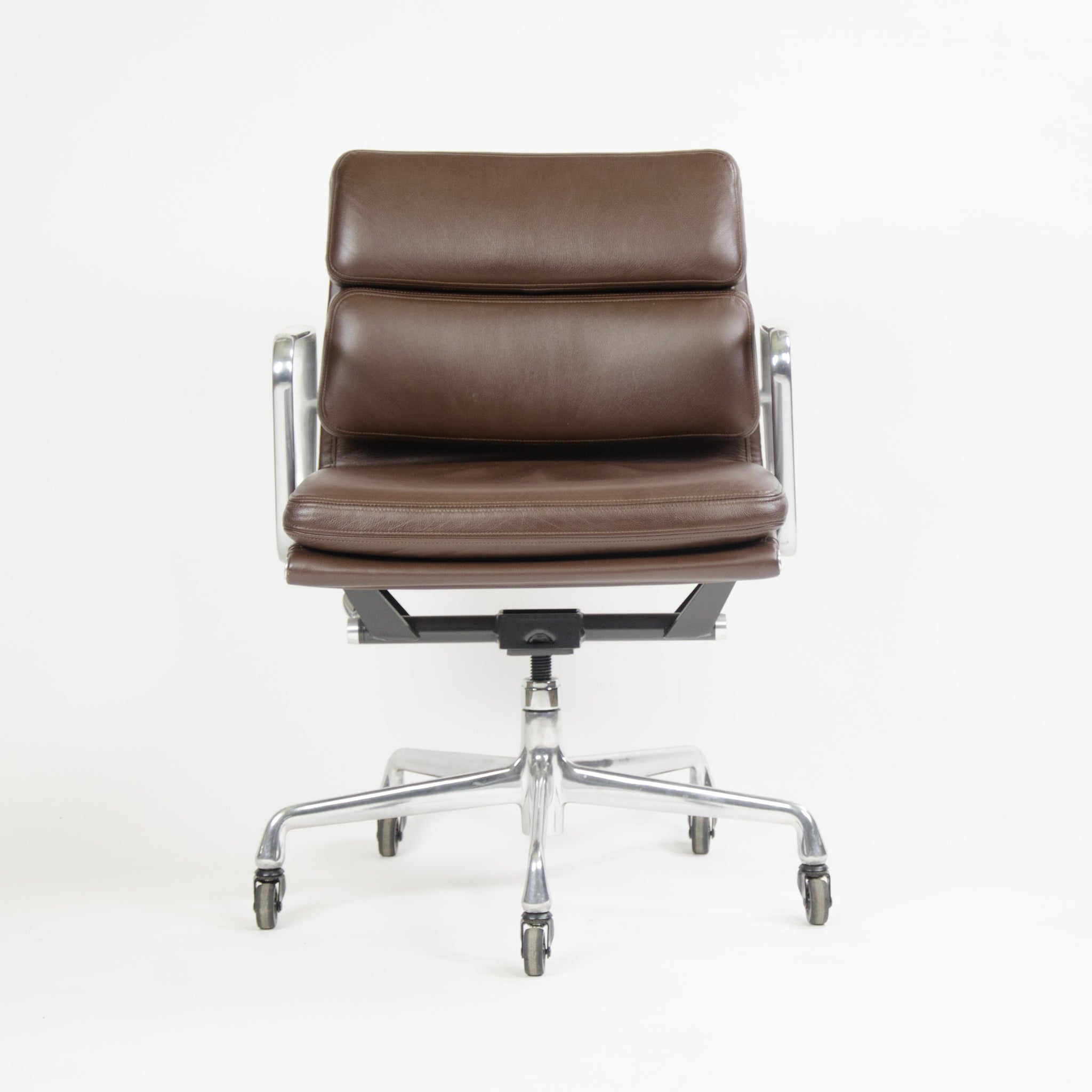 SOLD Herman Miller Eames Soft Pad Aluminum Group Chair Brown Leather 2006 2x Avail