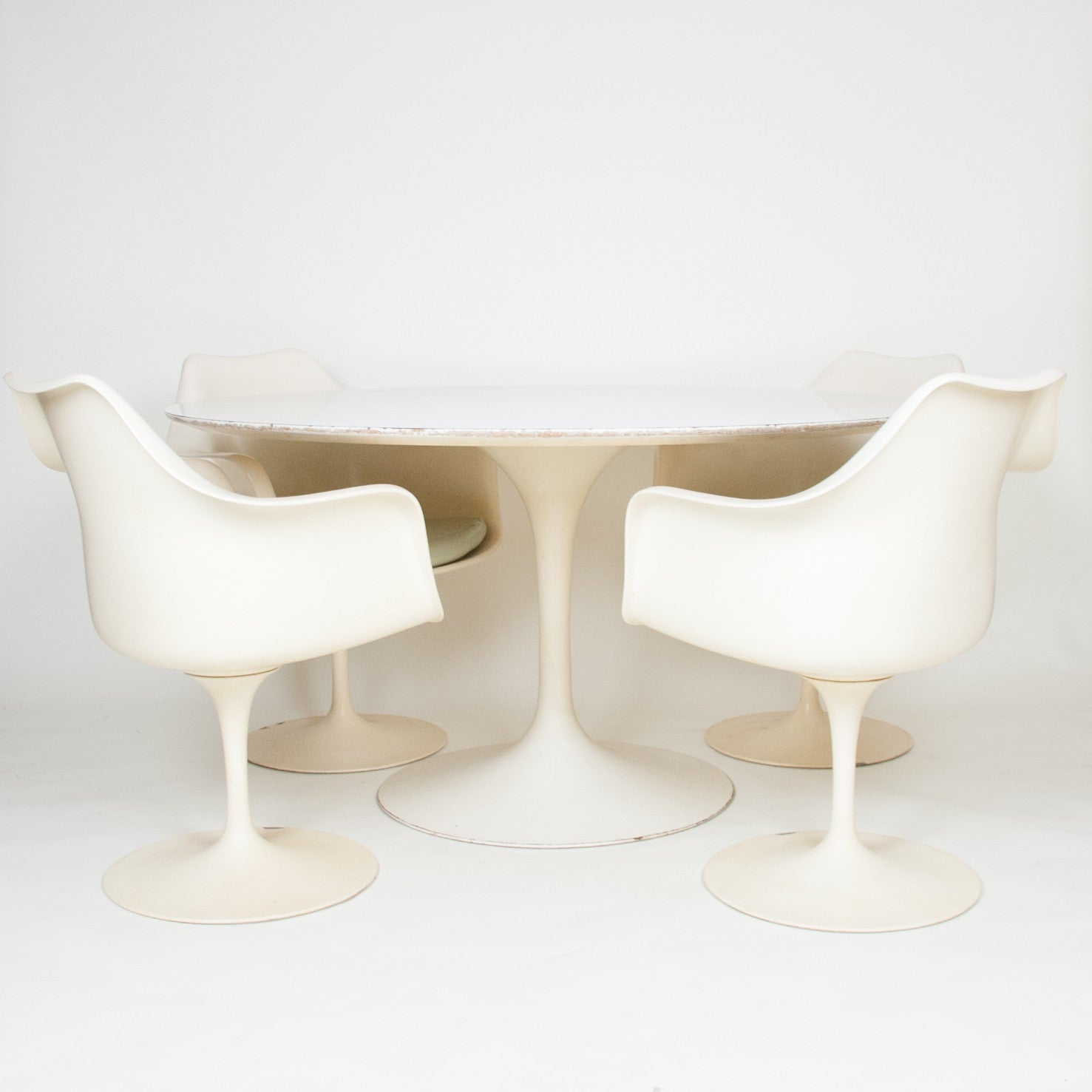SOLD Eero Saarinen For Knoll 54 Inch Tulip Conference / Dining Table with 4 Tulip Arm Chairs 1960's Vintage