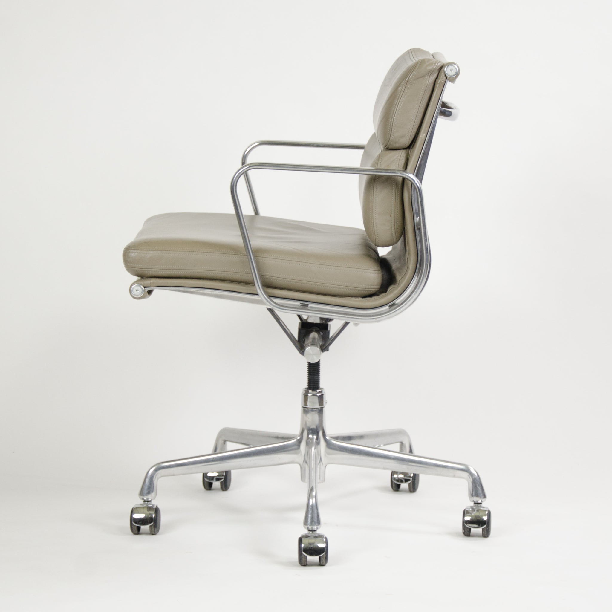 SOLD Herman Miller Eames Soft Pad Aluminum Group Chair Dark Tan Leather 2007