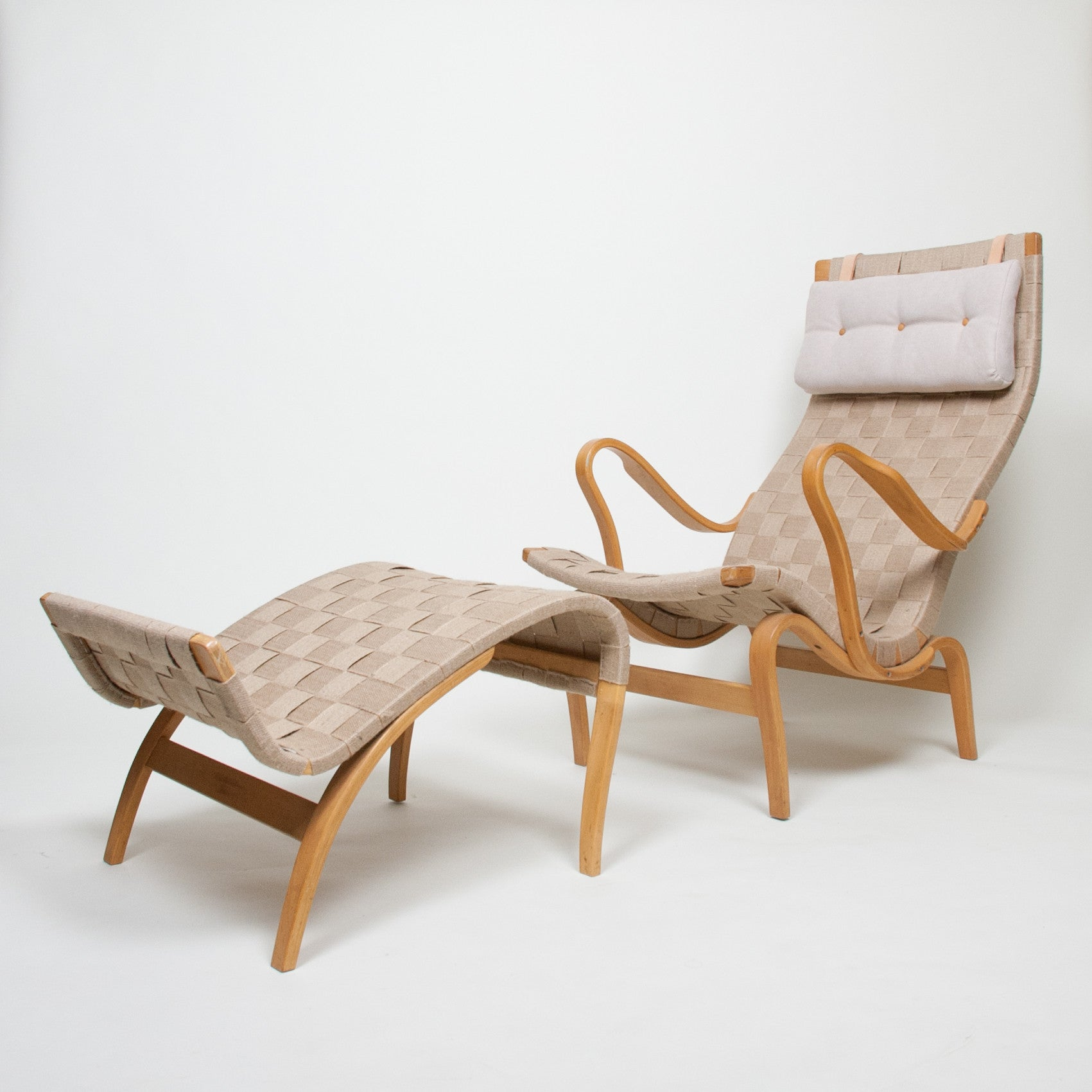 SOLD Bruno Mathsson Pernilla Lounge Chair + Ottoman Set Karl Mathsson Sweden