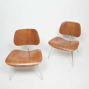 Rare Pair Of Eames Herman Miller 1970s Ash LCM Lounge Chairs