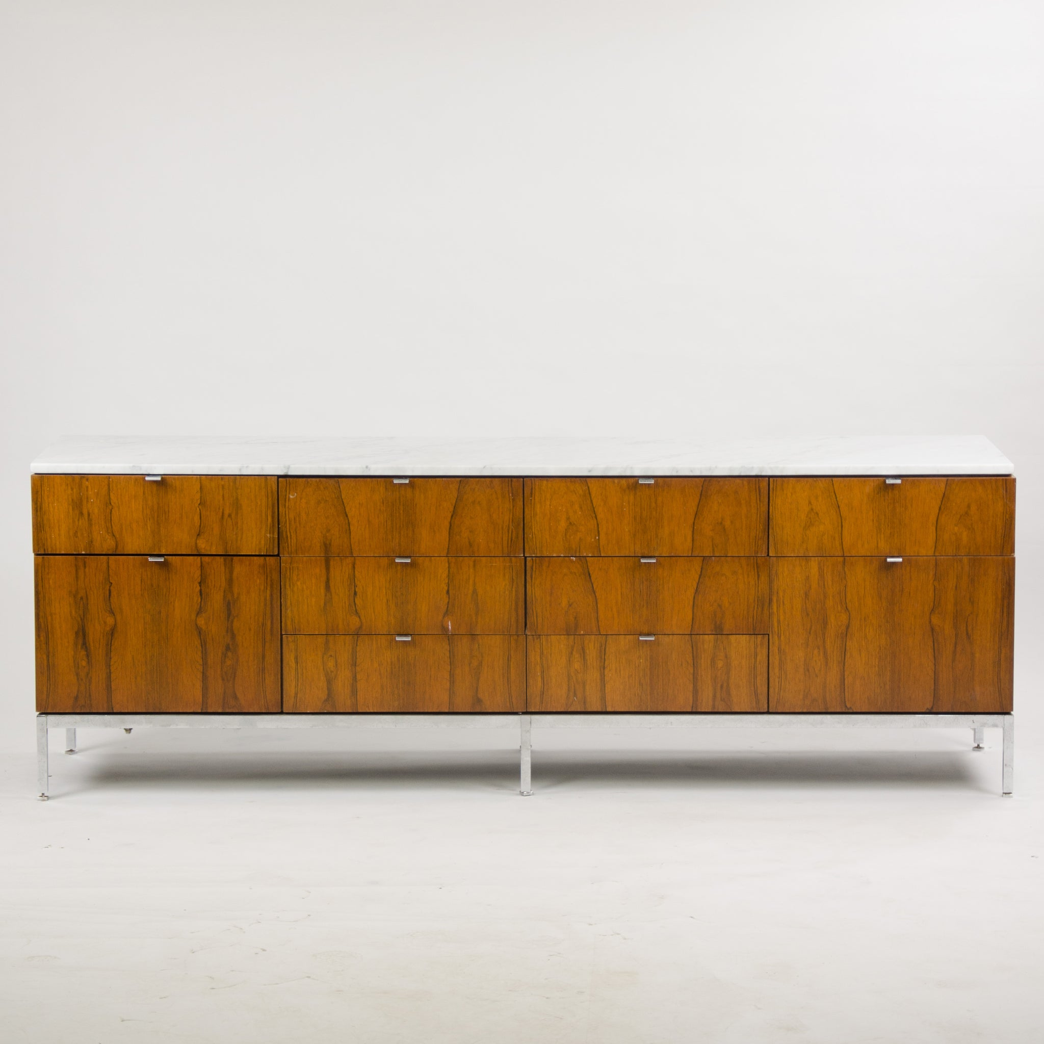 SOLD 1960's Florence Knoll Vintage Rosewood and Marble Credenza