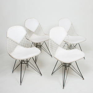 SOLD Eames Set of 4 DKR Herman Miller Wire Eiffel Tower Bikini Chairs White