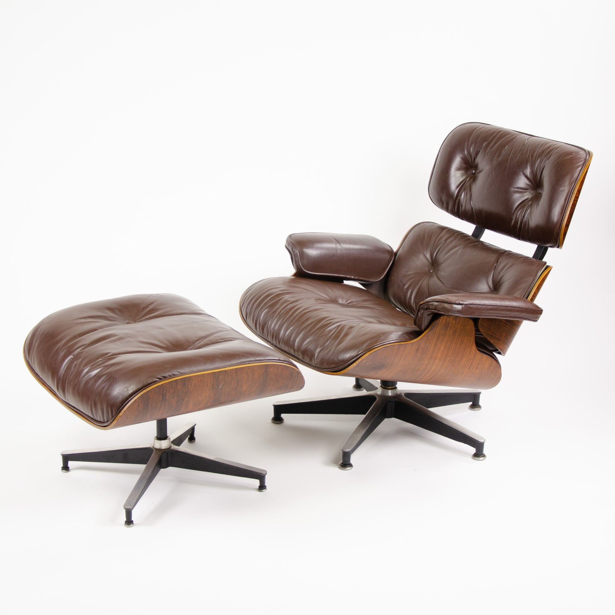 1970u0027s Herman Miller Eames Lounge Chair U0026 Ottoman Rosewood 670 671 Brown  Leather