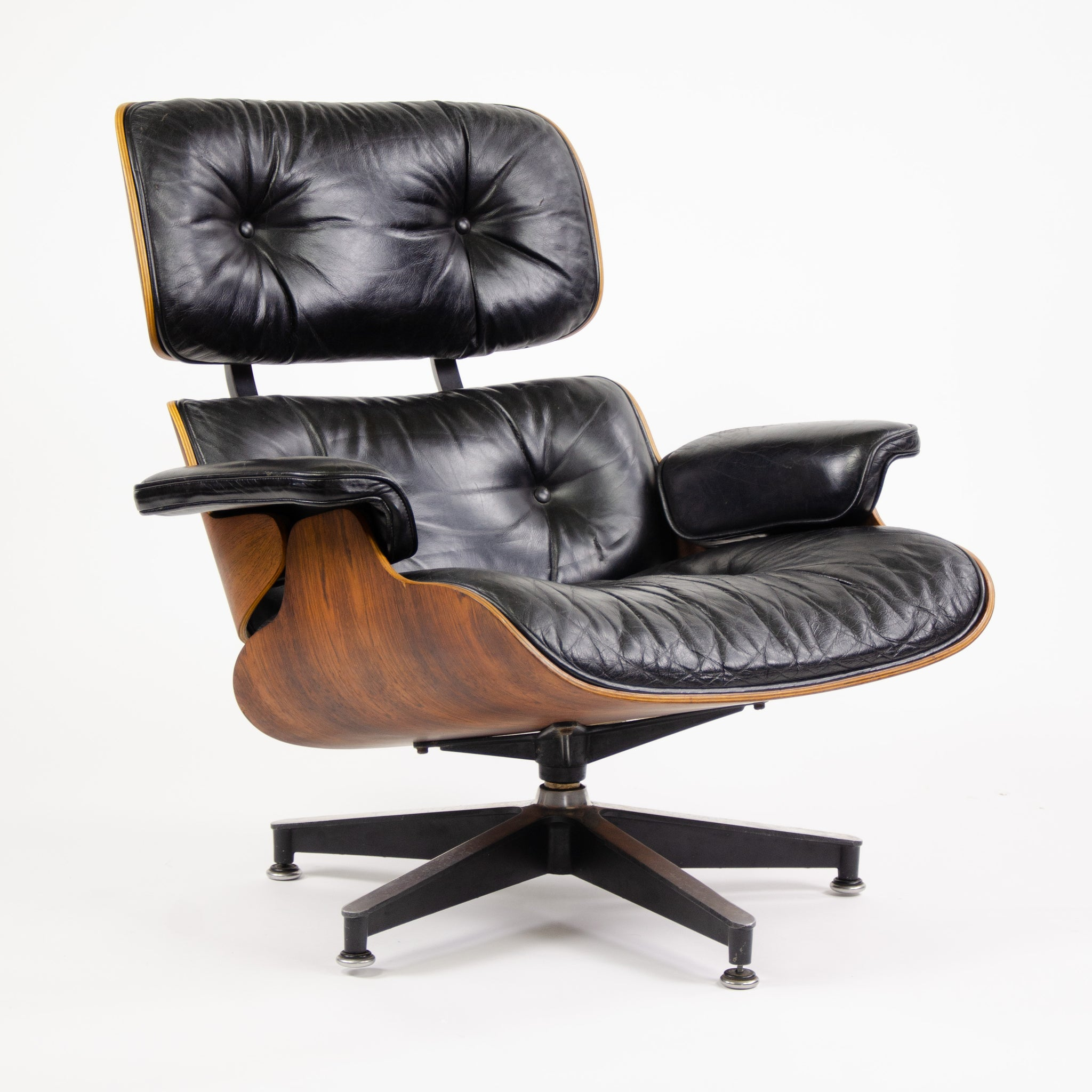 SOLD Herman Miller Eames Lounge Chair & Ottoman Rosewood 670 671 Black Leather 1970's