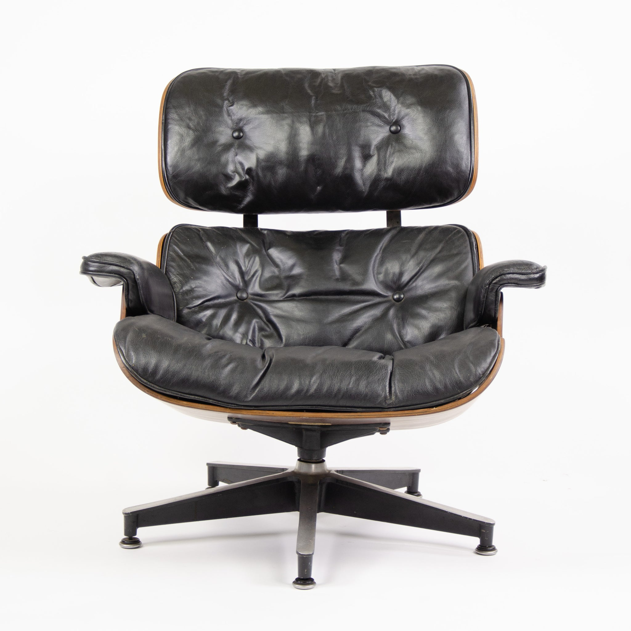 1960u0027s Herman Miller Eames Lounge Chair U0026 Ottoman Rosewood 670 671 Black  Leather