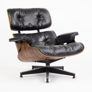 SOLD Herman Miller Eames Lounge Chair & Ottoman Rosewood 670 671 Black Leather 1980's