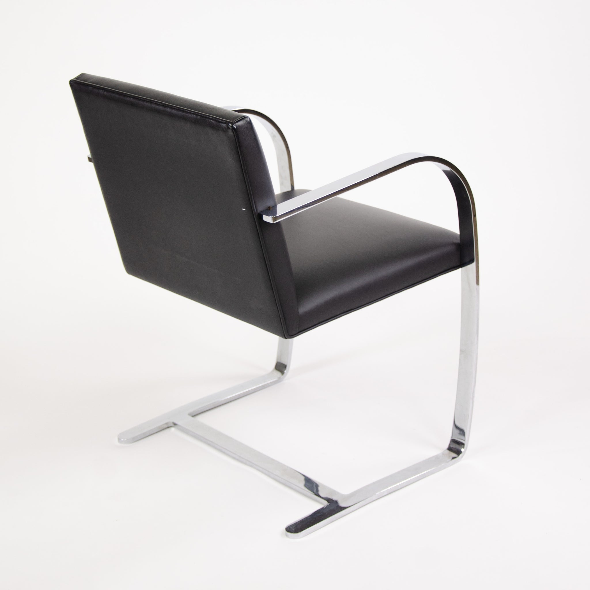 Knoll STAINLESS Mies Van Der Rohe Brno Chairs Black Leather Sets Available 2000s MINT