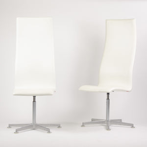 Fritz Hansen Arne Jacobsen Tall Oxford Chair White Leather 2007 6x Available