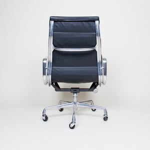 SOLD Eames Herman Miller High Back Soft Pad Aluminum Group Chair Black Leather
