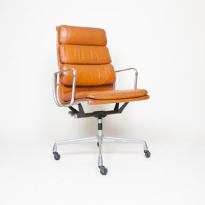 SOLD Eames Herman Miller High Back Soft Pad Aluminum Group Chair Cognac Leather