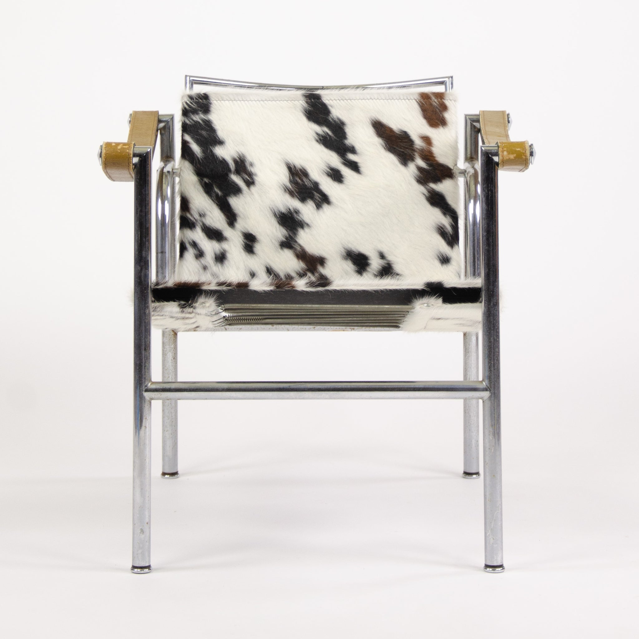 1960's Vintage Pair Le Corbusier LC1 Cassina Basculant Chairs Cowhide